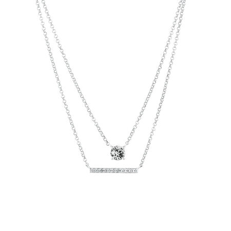 Necklace with Created White Sapphire in Sterling Silver
