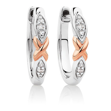 Huggie Earrings with Diamonds in Sterling Silver & 10ct Rose Gold