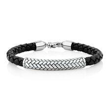 Men's Patterned Bracelet In Black Leather & Sterling Silver