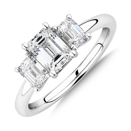 Sir Michael Hill Designer Three Stone Emerald Cut Engagement Ring with 1.42 Carat TW of Diamonds in 18ct White Gold
