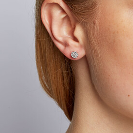 Cluster Stud Earrings with 1/2 Carat TW of Diamonds in 10ct White Gold
