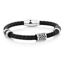 Men's Bracelet in Black Leather & Stainless Steel