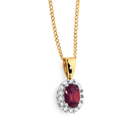 Pendant with Created Ruby & Diamonds in 10ct Yellow & White Gold