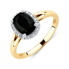 Ring with Diamonds & Natural Black Sapphire in 10ct Yellow & White Gold