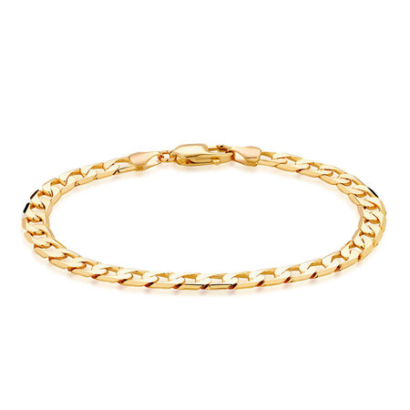 "Men's 21cm (8.5"") Curb Bracelet in 10ct Yellow Gold"