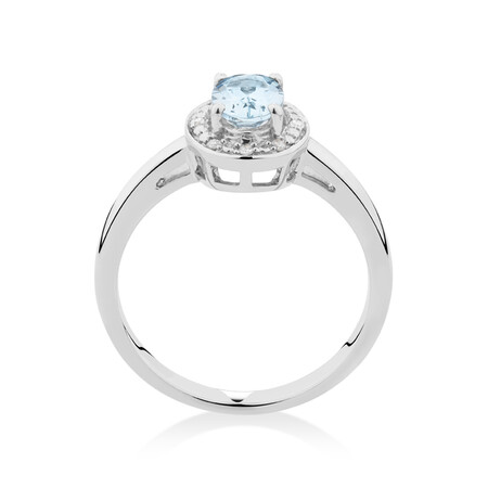 Halo Ring with Aquamarine & Diamonds in Sterling Silver