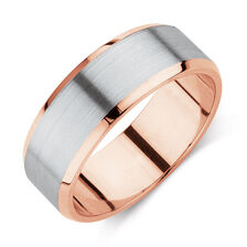 Men's Wedding Band in 10ct Rose & White Gold