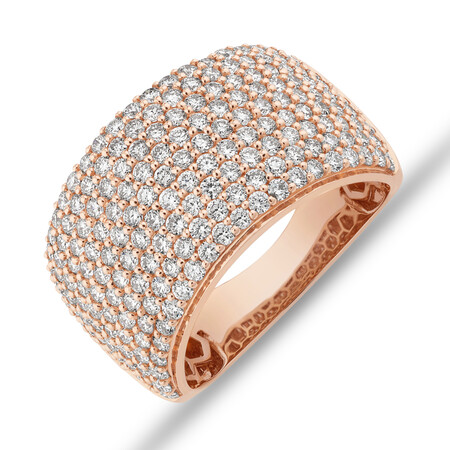 Pave Ring with 2 Carat TW Diamond in 14ct Rose Gold