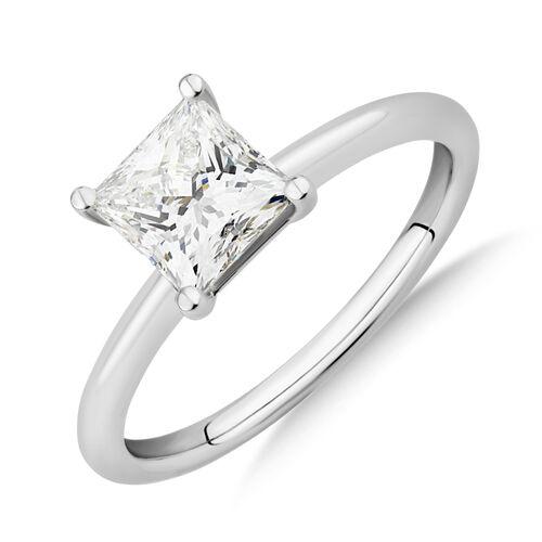 Laboratory-Created 1.25 Carat Princess Cut Diamond Ring In 14ct White Gold