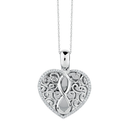 Infinitas Enhancer Pendant with 1/4 Carat TW of Diamonds in Sterling Silver