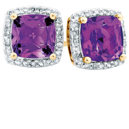 Stud Earrings with Amethyst & 0.15 Carat TW of Diamonds in 10ct Yellow Gold