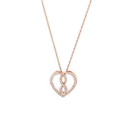 Small Infinitas Pendant with 1/4 Carat TW of Diamonds in 10ct Rose Gold