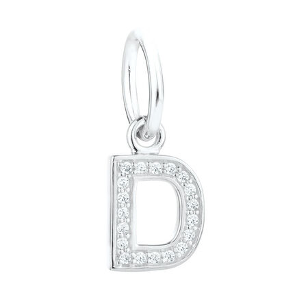 """""""D"""" Initial Mini Pendant with Cubic Zirconia in Sterling Silver"""