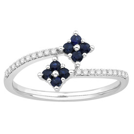 Ring with Sapphire & Diamond in 10ct White Gold