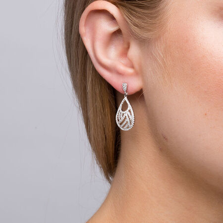 Fancy Drop Earrings with Cubic Zirconia in Sterling Silver