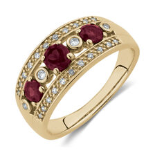 ea11cb61253373 Ring with Created Ruby & Diamonds in 10ct Yellow Gold ...