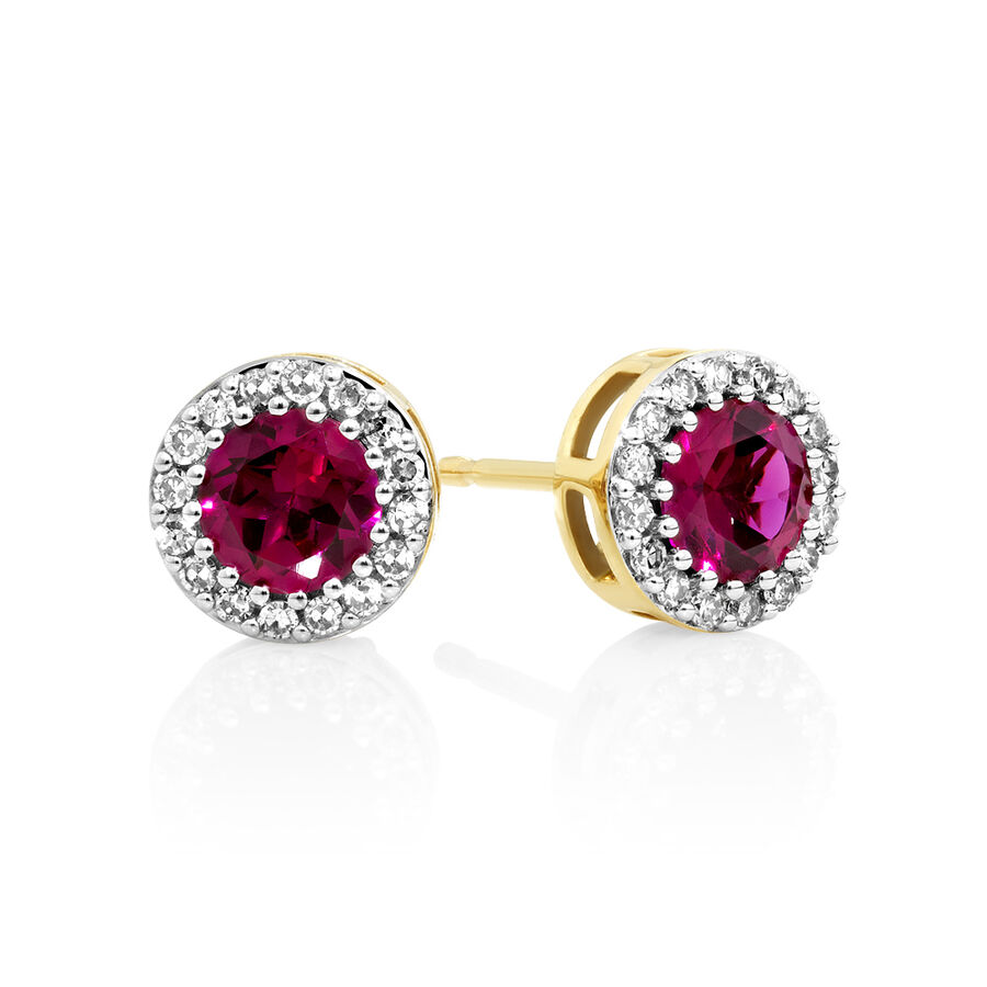 Halo Earrings with Created Ruby and 0.18 Carat TW of Diamonds in 10ct Yellow gold