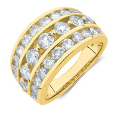 Three Row Ring with 3 Carat TW of Diamonds in 10 ct Yellow Gold