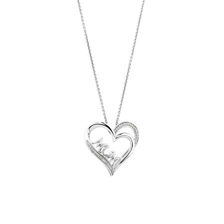 """""""Mum"""" Heart Pendant with Diamonds in Sterling Silver"""