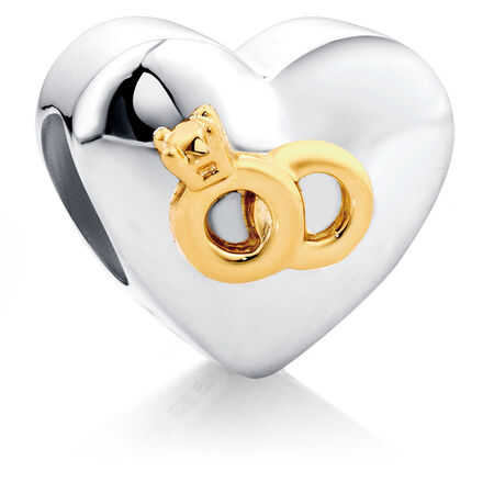 10ct & Sterling Silver Heart With Rings Charm