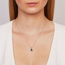 Pendant with Created Emerald & Diamonds in 10ct White Gold
