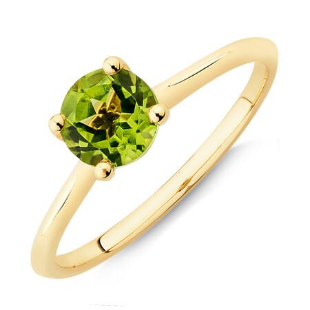 Peridot Ring in 10ct Yellow Gold