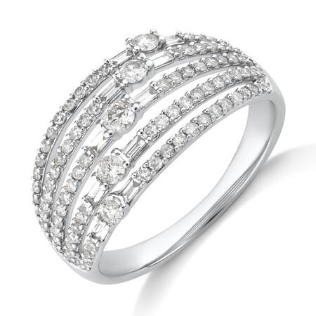 Multi Row Ring with 0.75 Carat TW Diamond in 10ct Yellow Gold