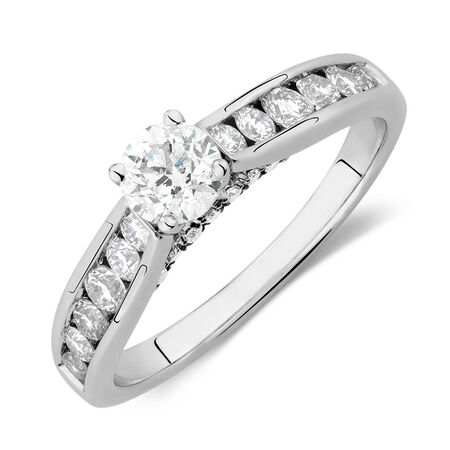 Engagement Ring with 1.11 Carat TW of Diamonds in 14ct White Gold
