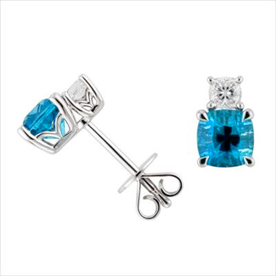 Earrings with Natural Blue Topaz & 0.24 Carat TW of Diamonds in 10ct White Gold