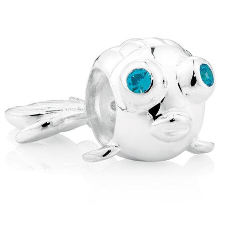 Blue Cubic Zirconia & Sterling Silver Puffer Fish Charm