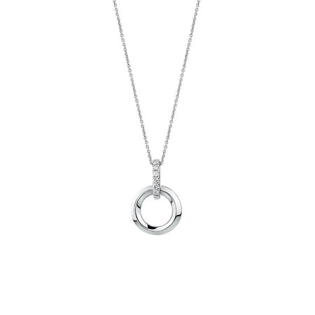 Circle Pendant with Diamonds in Sterling Silver