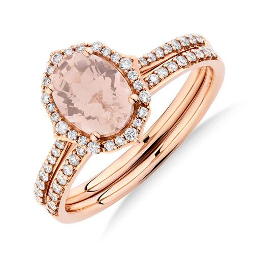 Bridal Set with 0.30 Carat TW of Diamonds & Morganite in 14ct Rose Gold