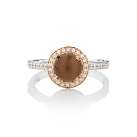 Online Exclusive - Stacker Ring with Brown Moon Stone in 10ct Yellow Gold & Sterling Silver