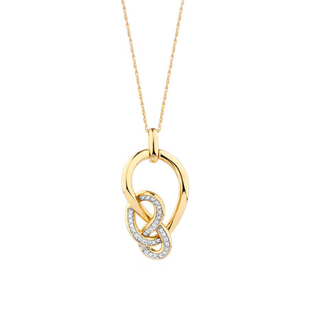 Medium Knots Pendant with 0.19 Carat TW of Diamonds in 10ct Yellow Gold