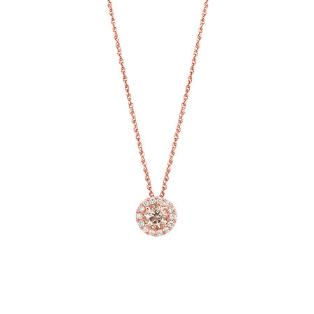 Pendant with Morganite & 0.15 Carat TW of Diamonds in 10ct Rose Gold