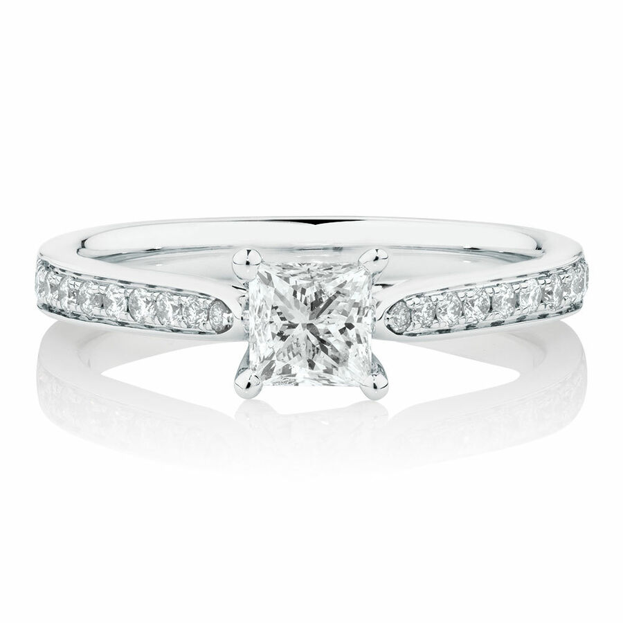 Solitaire Engagement Ring With 0.78 Carat TW of Diamonds In 14ct White Gold