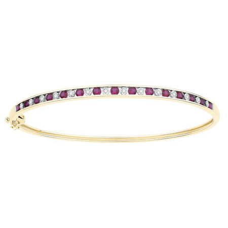 Bangle with Created Ruby & Diamonds in 10ct Yellow Gold