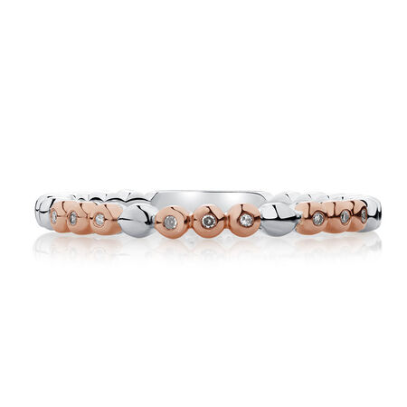 Diamond Set Bubble Stacker Ring in Sterling Silver & 10ct Rose Gold