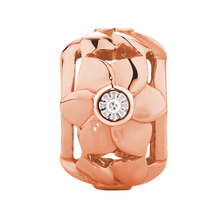 Diamond Set 10ct Rose Gold Flower Charm