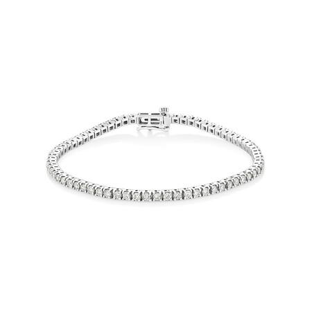 Tennis Bracelet with 3 Carat TW of Diamonds in 10ct White Gold