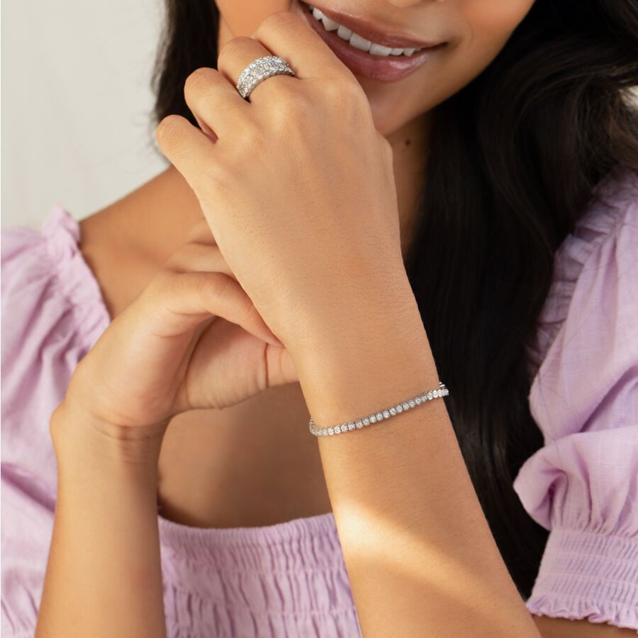 Tennis Bracelet with 1 Carat TW of Diamonds in 14ct White Gold