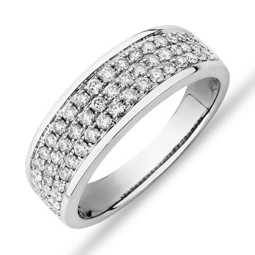 Men's Pave Ring with 0.87 Carat TW of Diamonds in 10ct White Gold