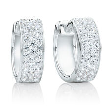 Reversible Huggie Earrings With Cubic Zirconia In Sterling Silver