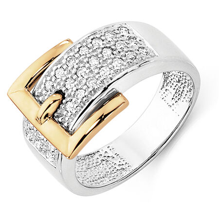 Ring with 0.33 Carat TW of Diamonds in 10ct Yellow & White Gold
