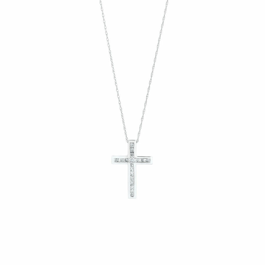 Cross Pendant in 10ct White Gold With 1/4 Carat TW of Diamonds