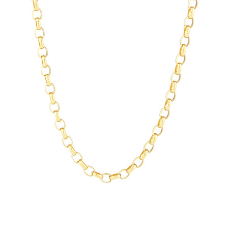 "55cm (22"") Solid Oval Belcher Chain 10ct Yellow Gold"