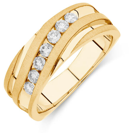 Men's Ring with 1/2 Carat TW of Diamonds in 10ct Yellow Gold