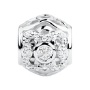 Diamond Set Sterling Silver Flower Pattern Charm