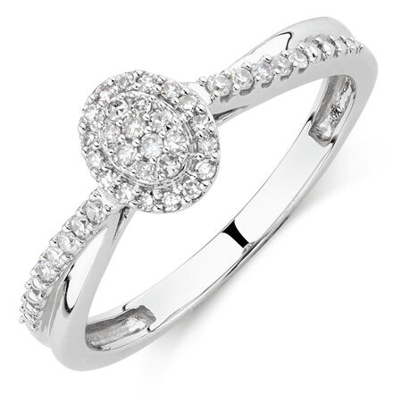 Promise Ring with 0.15 Carat TW of Diamonds in 10ct White Gold