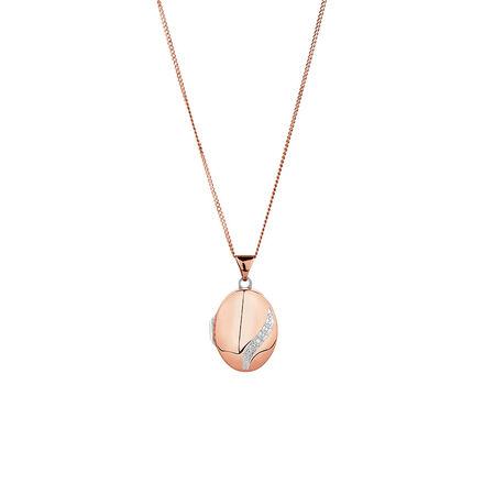 Diamond Set Oval Locket in 10ct Rose Gold